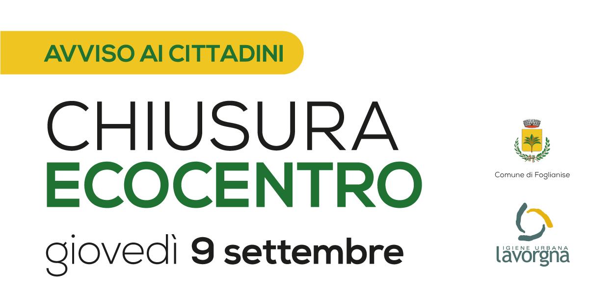 [AVVISO] Chiusura Ecocentro il 9 settembre 2021